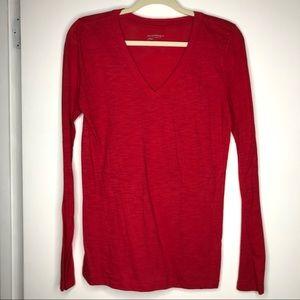 Arizona Long Sleeve Basic V Neck Shirt Size Large